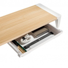 MOYE White Birch Monitor Riser With Increased Height and Drawer