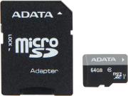MICRO SD 64GB AData + SD adapter AUSDX64GUICL10-RA1