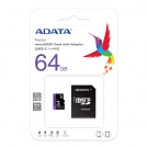Micro SD 64GB AData + SD adapter AUSDH64GUICL10-RA1